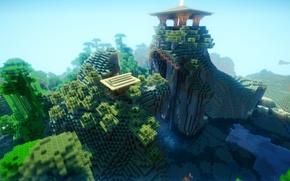 Картинка лес, небо, вода, деревья, горы, блоки, Minecraft, храм на вершине