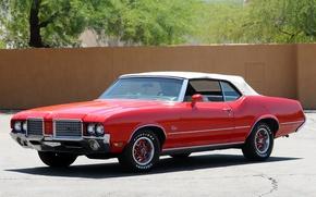 Картинка красный, red, кабриолет, мускул кар, convertible, muscle car, oldsmobile, 1972, supreme, олдсмобиль, cutlass