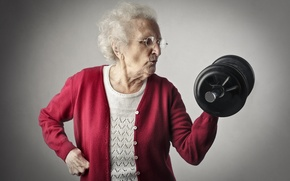 Обои fitness, dumbbells, workout, grandmother, old woman