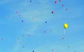 Обои краски, воздушный шарик, праздник, небо, облака