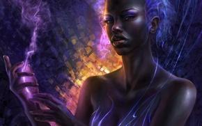 Обои девушка, линии, абстракция, дым, арт, ceruleanvii, негритянка, чернокожая