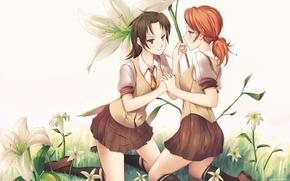 Картинка цветы, улыбка, девушки, школьницы, oerba yun fang, oerba dia vanille, final fantasy, art, смущение, doomfest