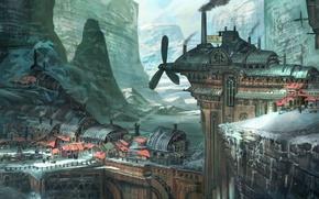 Картинка зима, снег, горы, город, фантастика, арт