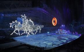 Картинка солнце, город, волшебство, механизм, кони, лёд, лошади, шоу, ice, декорации, тройка, Russia, русская, horses, РОССИЯ, …