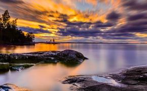 Картинка небо, облака, озеро, берег, спокойствие, Финляндия, Finland, Tampere
