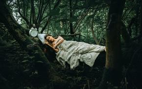 Обои Another Story, девушка, часы, лес, книга, Rosie Hardy