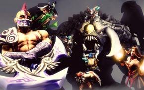 Картинка Bloodseeker, Dota 2, Lina, Meepo, Rubick