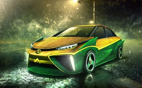 Картинка авто, Superheroes, auto, супергерой, Marvel, Тойота, Марвел, Aquaman, Аквамен, Toyota Mirai