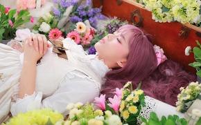 Картинка девушка, цветы, лицо, волосы, макияж, лежит