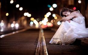 Картинка девушка, ночь, улица