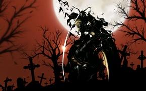 Картинка ночь, луна, кресты, меч, дампир