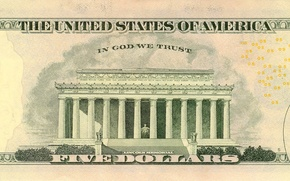 Картинка Dollar, five, states, God, united, America, memorial