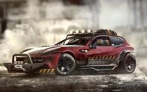 Картинка red, rally, усилитель, обвес, Ferrari FF, Metal Mash, лебёдка, кунгурятник, каркас безопасности