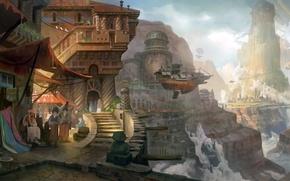 Картинка облака, горы, город, люди, фантастика, скалы, транспорт, высота, корабли, арт, ступеньки