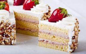 Обои ягоды, торт, еда, пирожное, десерт, сладкое, клубника