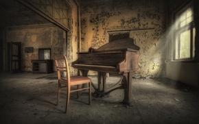Обои пианино, музыка, стул