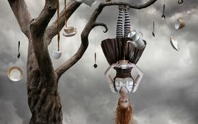 Обои tea tree, девушка, дерево, чай, сюрреализм