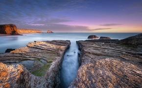 Картинка море, природа, камни, скалы, берег, расвет