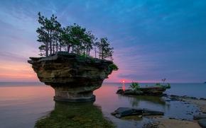 Картинка небо, облака, деревья, закат, природа, скала, озеро, сша, мичиган, гурон