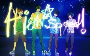 Обои небо, вода, звезды, радость, природа, отражение, аниме, арт, созвездия, парни, free!, nanase haruka, tachibana makoto, ...