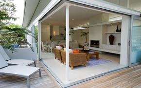 Обои дизайн, стиль, комната, интерьер, кресло, подушки, окно, квартира