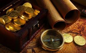 Картинка золото, карта, компас, дублоны