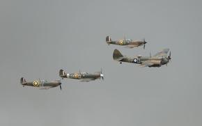 Картинка небо, рейс, Англичане, боевики, Supermarine Spitfire Mk I, легкий бомбардировщик, Bristol Blenheim Mk I, Королевские …
