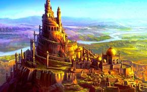 Обои крепость, fantasy, пейзаж, арт, фэнтази