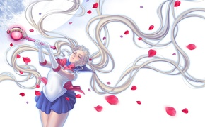 Картинка девушка, луна, лепестки, форма, жезл, sailor moon, Bishoujo senshi sailor moon, Tsukino Usagi