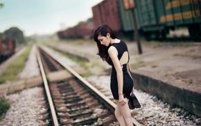 Картинка девушка, железная дорога, азиатка