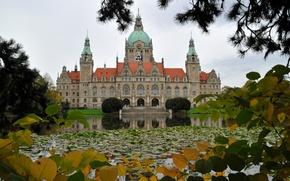 Обои новая ратуша, парк, Ганновер, Германия, пруд, пейзаж
