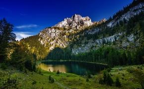 Картинка деревья, горы, озеро, Швейцария, Switzerland, Canton of Berne, Bernese Alps, Бернские Альпы, Oltschiburg Mountain, Hinterburgseeli …