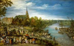Обои пейзаж, картина, Ян Брейгель старший, Деревенская Ярмарка