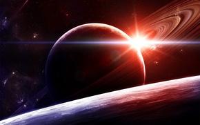 Обои свет, кольца, 157, звезды, Планета