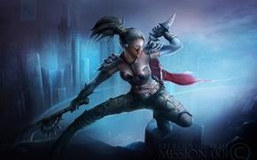 Картинка девушка, город, оружие, арт