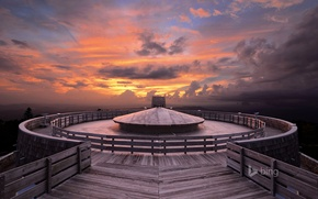 Картинка небо, облака, закат, США, обсерватория, Лысая гора, штат Джорджия