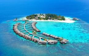 Картинка океан, отдых, домики, бунгало, Maldives