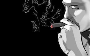 Обои черно-белая, дым, Вектор, сигара