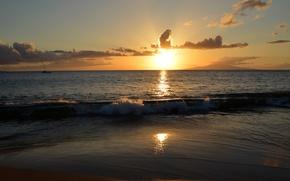 Картинка море, небо, закат, природа, фото, рассвет, горизонт, Гавайи, Hawaii, Maui