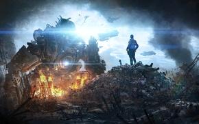 Обои Небо, Облака, Огни, Робот, Дым, Огонь, Свет, Солдат, Корабли, Пламя, Охотник, Electronic Arts, Пилот, Титан, ...