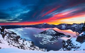 Картинка зима, снег, пейзаж, озеро, Sunrise, Crater Lake