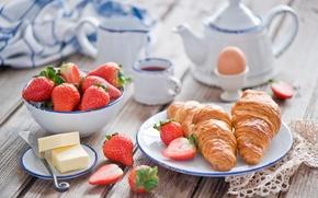 Обои strawberry, fruit, круассан, чай, food, сладкое, drink, sweet, фрукты, еда, croissant, клубника, tea