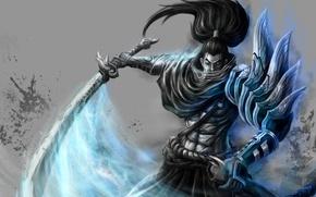 Картинка меч, арт, самурай, хвост, мужчина, League of Legends, LoL, Ясуо, Yasuo, наплечник, Zersphaiz