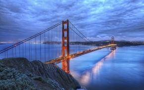 Картинка мост, река, золотые ворота, калифорния, сан-франциско