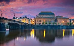 Картинка мост, река, дома, вечер, Прага, Чехия