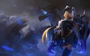 Картинка взгляд, девушка, дракон, блондинка, броня, Shyvana, Half-Dragon