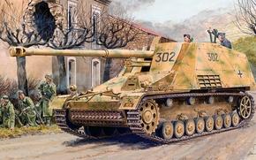 Картинка рисунок, арт, носорог, САУ, германская самоходная артиллерийская установка, Насхорн, 8.8 cm PaK 43/1 auf Geschutzwagen …