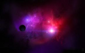 Картинка туманность, планета, звёзды, скопление