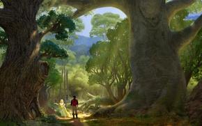 Картинка лес, деревья, рисунок, арт, Рапунцель, тропинка, Tangled, Флинн, Рапунцель: Запутанная история