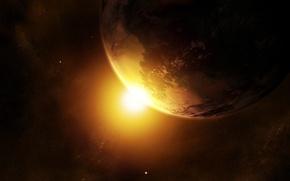 Обои солнце, планета, звезды